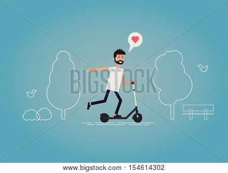 Flat vector illustration of a happy guy riding a scooter in a park. A young bearded hipster having good time riding a scooter outdoor surrounded by a trees bushes and birds.