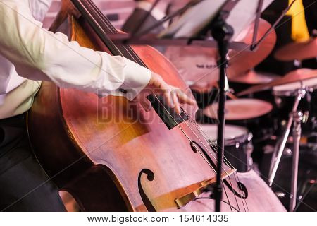 Man playing an acoustic contrabass in concert