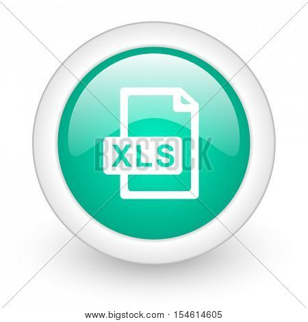xls file round glossy web icon on white background