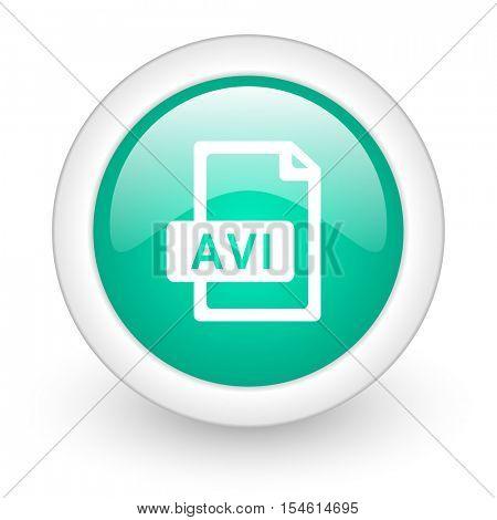 avi file round glossy web icon on white background