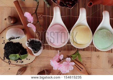 Daifuku Mochi Japanese dessert and hot tea