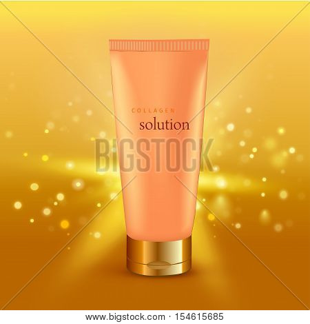 Realistic vector illustration. Collagen solution intensive cream tube gold background advertisement poster for pharmaceutical and cosmetics products