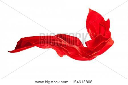 Smooth elegant red satin cloth isolated on white background