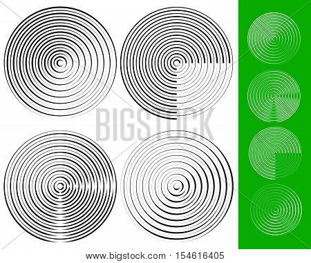 Concentric Circles, Rings Geometric Element. Set Of 4 Version.