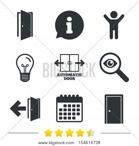 Automatic door icon. Emergency exit with arrow symbols. Fire exit signs. Information, light bulb and calendar icons. Investigate magnifier. Vector