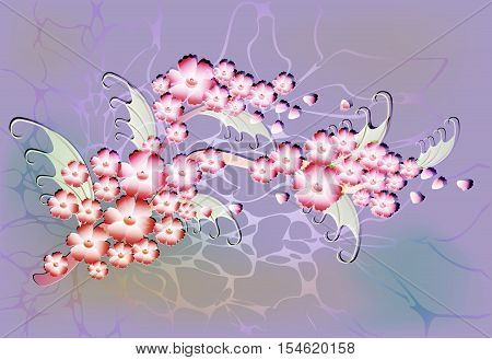 Abstract composition with branch of Sakura flowers on light background with glitter and dew drops. EPS10 vector illustration.