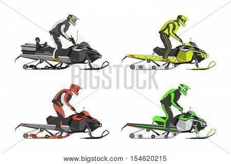 Set of snowmobiles. Transport for extreme sport. Snowmobile with driver. Vector illustration