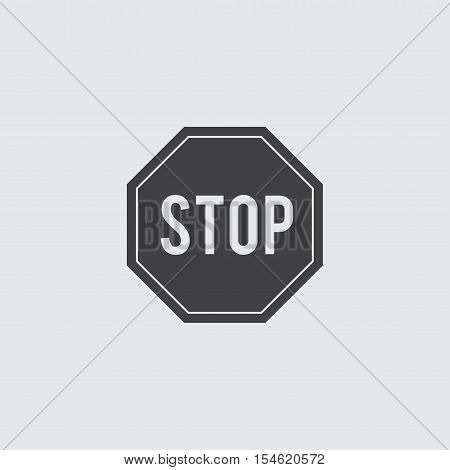 Stop sign icon in a flat design in black color. Vector illustration eps10