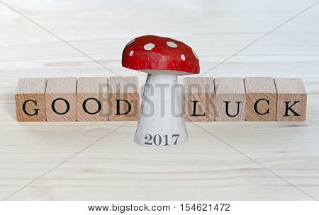 The words Good Luck and a lucky charm with the year 2017 on wood