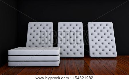 mattresses in an empty room 3d rendering