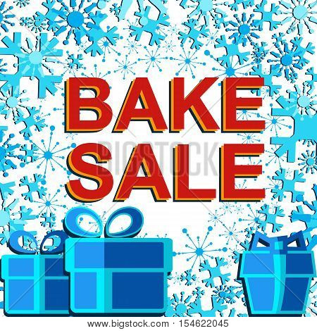 Big winter sale poster with BAKE SALE text. Advertising blue and red r banner template
