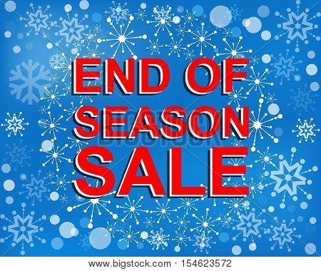 Big winter sale poster with END OF SEASON SALE text. Advertising blue and red r banner template