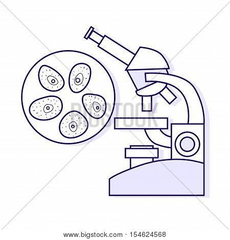 Cytological tests. Vector medical outline illustration isolated on white background. Medical object.