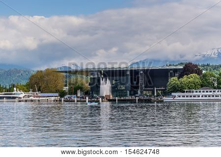 Lucerne Switzerland - May 24 2016: Architecture of Lucerne. The Culture and Congress Centre (KKL Luzern) in Luzern Switzerland. It is a multi-functional building with a concert hall that is esteemed for its high-profile acoustics.