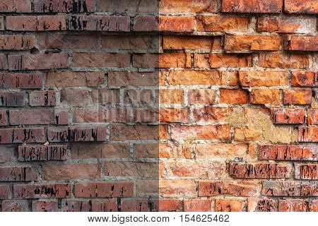 Photo before and after the image editing process. Weathered stained old orange and red brick wall texture grunge background