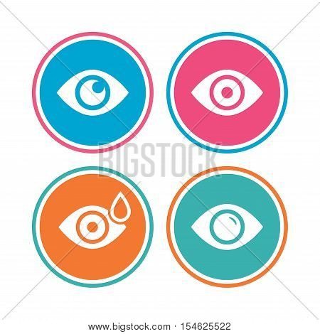 Eye icons. Water drops in the eye symbols. Red eye effect signs. Colored circle buttons. Vector