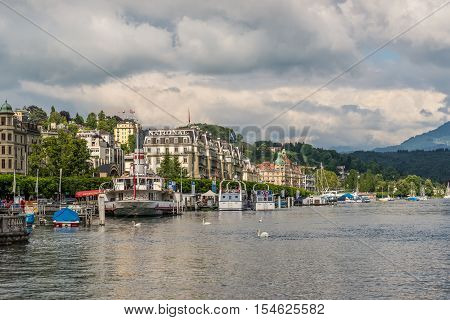 Lucerne Switzerland - May 24 2016: Cityscape of Lucerne on the Lake Lucerne Switzerland. Lucerne is a city in central Switzerland it is the capital of the Swiss Canton of Lucerne.