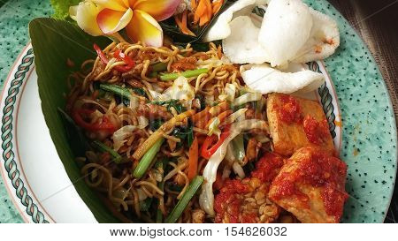 A dish of noodles in Ubud, near the sacred monkey forest