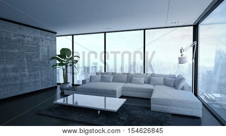 3D rendering of empty spacious living room with modular sofa, lamp, table and large plant