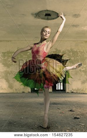 Portrait of the ballerina in ballet pose on a gray room background. Ballerina is wearing pink tutu and pointe shoes
