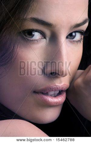 close up portrait, studio shot
