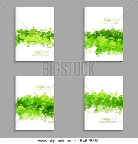 Magazine Cover with leaves, triangles. For book, brochure, flyer, poster, booklet leaflet postcard flier headline annual report green