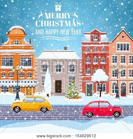 happy new year and merry Christmas winter old town street with christmas tree and car. concept for greeting and postal card, invitation, template, vector illustration.