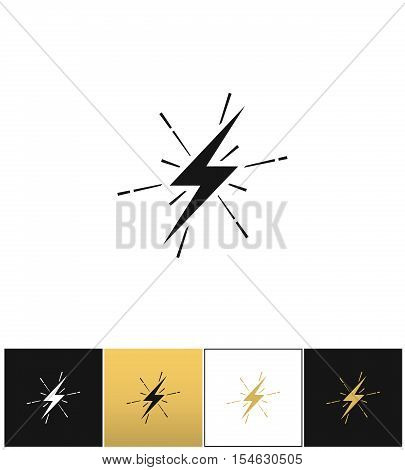 Lightning thunderbolt sign or strike electric bolt vector icons on black, white and gold backgrounds