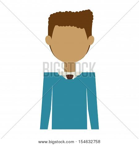 half body man wearing formal suit without face vector illustration