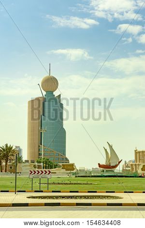 SHARJAH, UAE - OCTOBER 10, 2016: The popular landmark of Kuwaiti Roundabout in Sharjah