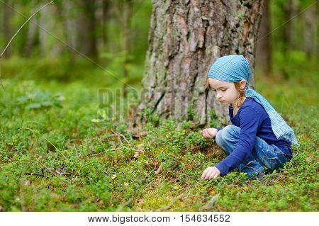 Adorable Girl Picking Foxberries In The Forest