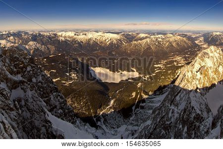 Beautiful View From Highest Mountain Peak Zugspitze Near Garmisch Partenkirchen. Bavaria, Germany.