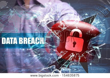 Business, Technology, Internet And Network Security. Data Breach