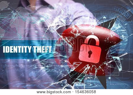 Business, Technology, Internet And Network Security. Identity Theft