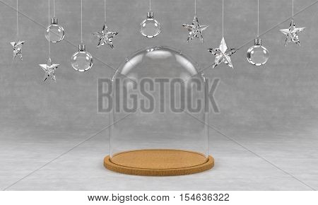 Glass dome with wooden tray on concrete background and hanging crystal balls and stars ornaments. For new year or Christmas theme. 3D rendering.