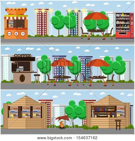 Street food festival concept vector banners. Food from stalls in park. Street cafe concept.