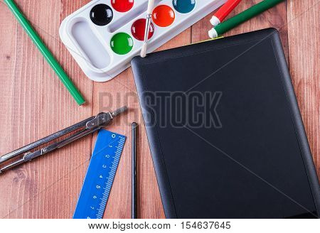 Office and school supplies on a white background