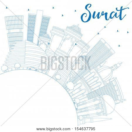 Outline Surat Skyline with Blue Buildings and Copy Space. Vector Illustration. Business Travel and Tourism Concept with Historic Architecture. Image for Presentation Banner Placard and Web Site.
