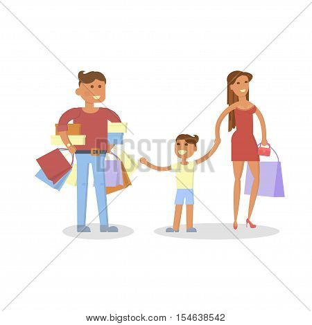 Happy family concept. Isolated on white background. People shopping with shopping bags. Woman and man with son at flat design. vector illustration