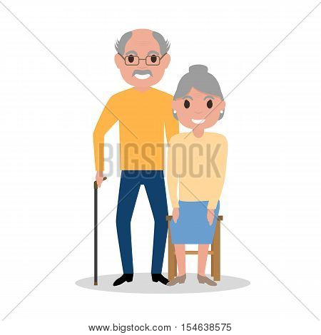 Vector illustration of an elderly couple grandparents, aged people. Cartoon old men. Drawing, picture isolated on white background. Flat style. Old happy family, retirement. Grandparents day.