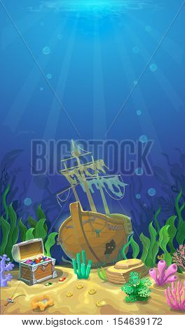 Underwater landscape. The ocean, undersea world. pirate chest with treasures and sunken ship. background for mobile game