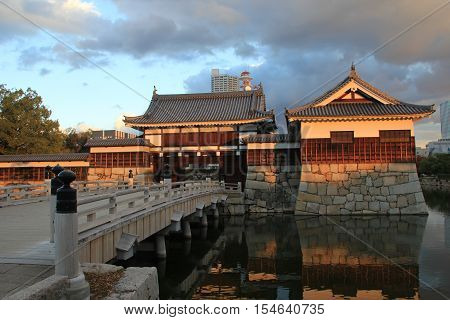 A bridge over moat to Hiroshima Castle in Hiroshima,  Hiroshima Prefecture, Japan