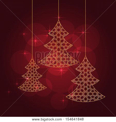 Greeting card with stylized christmas tree on abstract red background. Vector illustration.