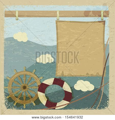 Abstract vintage background with a steering wheel and a lifeline. eps10