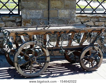 Old wooden horse cart. Close-up. Kuban, Russia