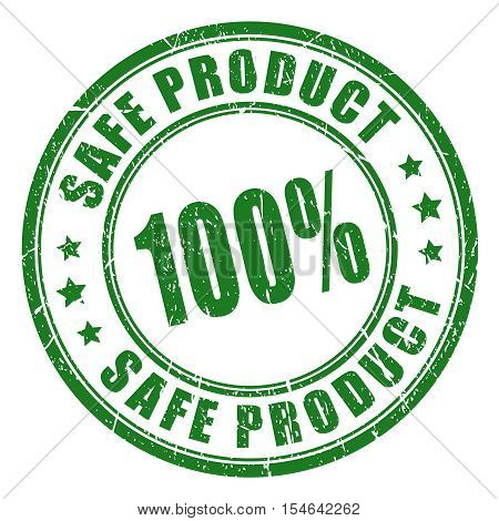 Safe product green approval rubber ink stamp vector illustration isolated on white background