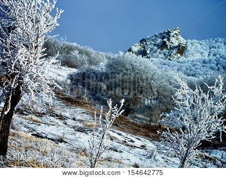 Frozen Winter Landscape in Mount Beshtau Ridges and Hills with Frozen Snowy Trees on Cloudy Sky background Outdoors
