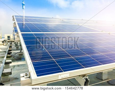 Soft Focus Of Solar Panels Or Solar Cells On Factory Rooftop Or Terrace With Sun Light, Industry In