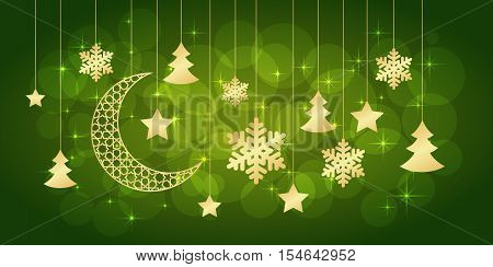 Merry Christmas or new year card on green background. Vector illustration