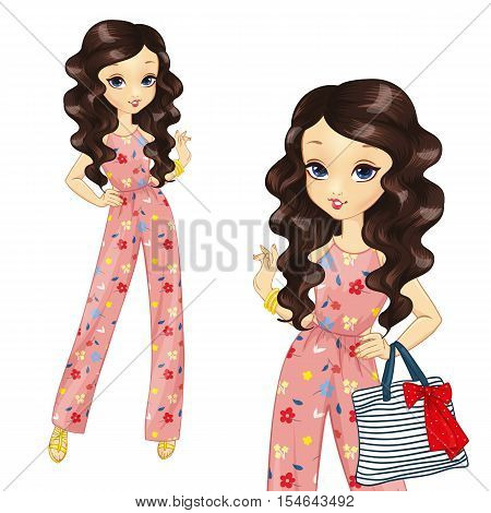 Vector illustration of brunette girl with curly hair in a long overalls
